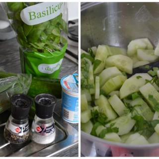 Bereiding Komkommer- bascilicumsoep 1